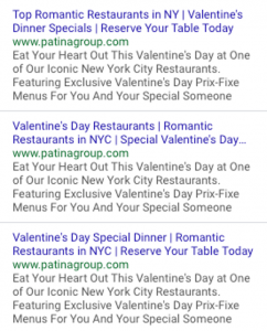 Google Search Ads for Restaurant on Valentine's Day