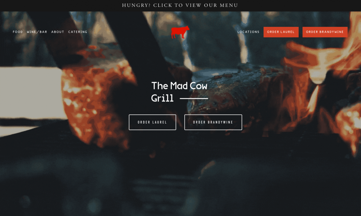 Mad Cow Grill Optimized Home Page
